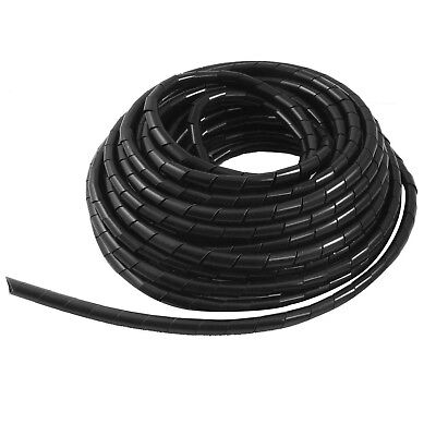 uxcell Black 8mm Outside Dia 12M Polyethylene Spiral Cable Wire Wrap Tube NEW
