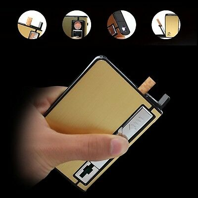 Metal Cigarette Case with USB lighter Electronic Flameless Windproof Lighters...