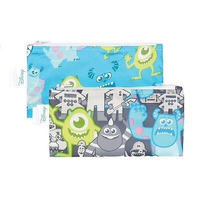 Bumkins Disney Baby Reusable Snack Bag Small 2 Pack Monsters Inc. (Gray/Blue)