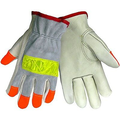 (6 Pairs) Leather High Visibility Reflective Roadwork Driver Work Gloves Medium