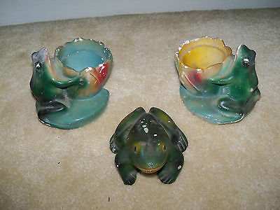 Lot of 3 Vintage Chalkware Green Frogs and Waterlily Chalk Figures
