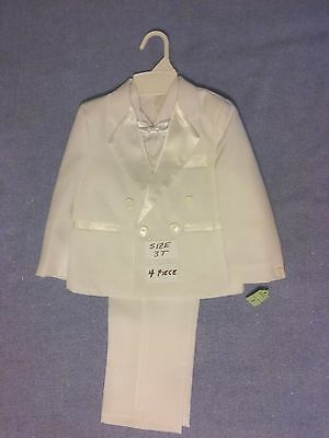 Boy's Formal Tuxedo Suit Toddler White 4 Piece Pants Jacket Bow Tie Size 3T New