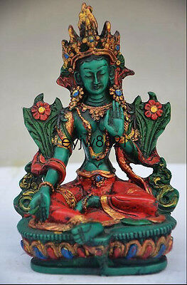 DELICATE CHINESE Old TURQUOISE HAND CARVED TIBETAN BUDDHISM STATUE NR