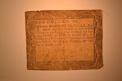 Maryland Colonial Note- August 14, 1776 $1-  VG with reverse tape repairs.