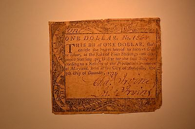 Maryland Colonial Note- December 7, 1775 $1-  Fine with edge roughness.
