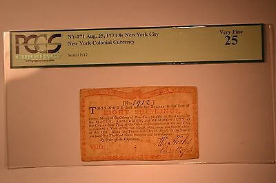 New York August 25, 1774 (Water Works) 8s.   PCGS Very Fine 25.  RARE!