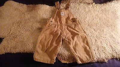 Carhartt Kids Brown Duck Cloth Bibs Overalls Infant Washed 6 M Months