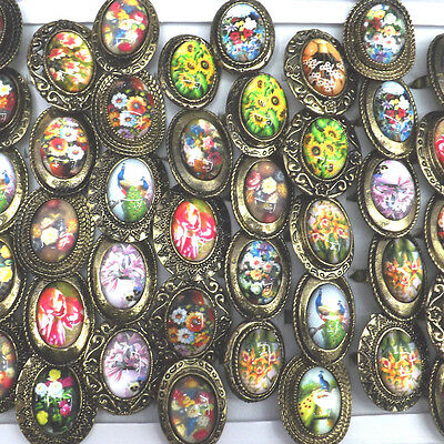 Antique Bronze Rings Setting Oval Flower Pattern Match With National Dress 50pcs