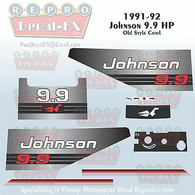 1989-90 Johnson 6 HP A Sea-Horse Outboard Reproduction 9 Pc Marine Vinyl Decals