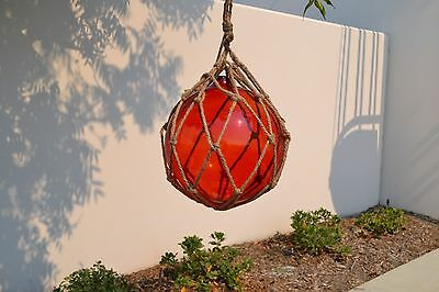 "Reproduction Red Glass Float Ball With Fishing Net 12"" #f-960"