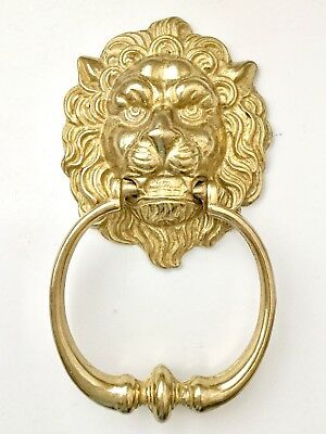 Beautiful Vtg Quality Solid Brass Fierce Lion Large Door Knocker ~Excellent~