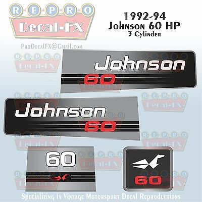 1992-94 Johnson 20 HP Sea-Horse Outboard Reproduction 7 Pc Marine Vinyl Decals