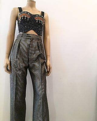 Yves Saint Laurent Rive Gauche Striped Gold Trousers High Waisted Size 40
