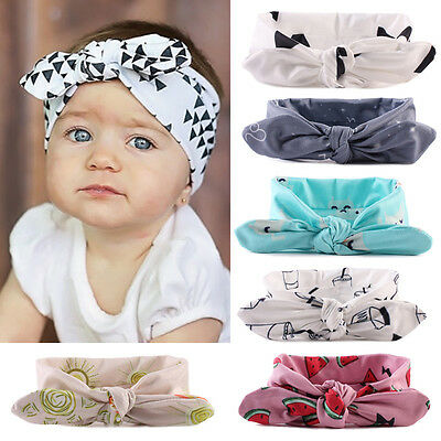 UK Newborn Baby Kids Girls Rabbit Bow Headband Hairband Headwear Turban Knot
