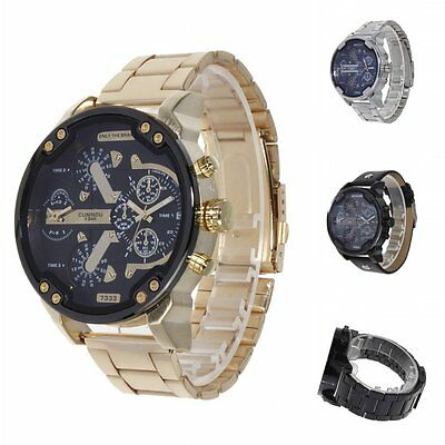 Men's Big Dial Quartz Analog Stainless Steel/Leather Band Army Sport Wristwatch
