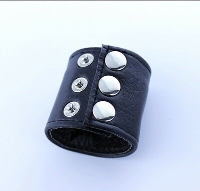 Mens Leather Ball & Scrotum Stretcher Strap with Stud Fasteners DISCREET UK POST