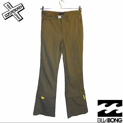 Billabong 'solar' Womens Trousers Convertible Leg Capri Zip Off Khaki Uk 10 Bnwt