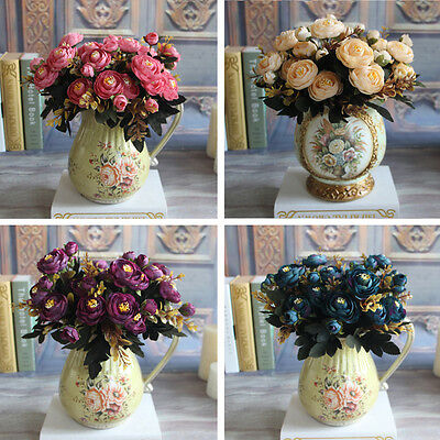 6 Branches Autumn rose Flores secas y artificiales Home Hotel Decor