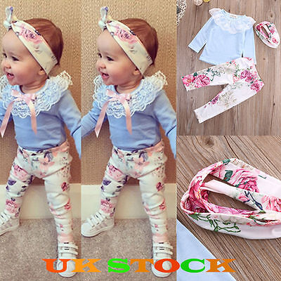 UK 3PCS Toddler Kids Baby Girls Summer Clothes T-shirt Tops + Pants Outfits Set
