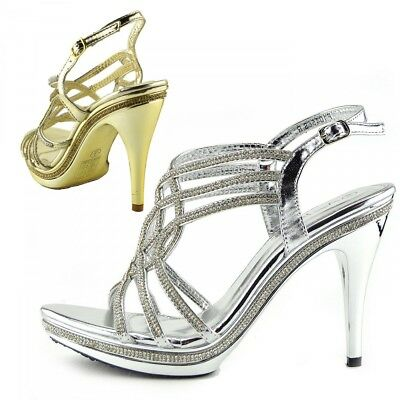 Womens High Heels Wedding Gold Silver Shoes Stiletto Heel Party Sexy Sandals