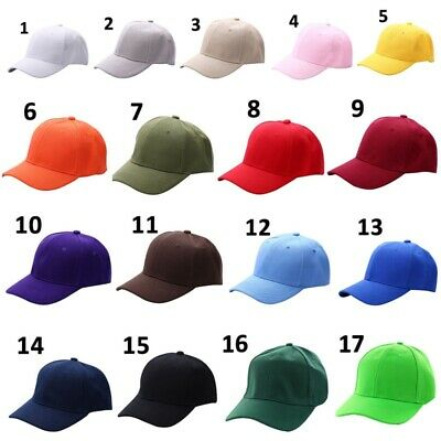 Men Women Adjustable Pure Color Blank Curved Plain Baseball Caps Visor Hat AU