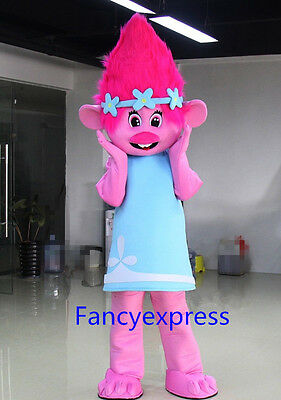 Hot Princess Poppy Mascot Costume Trolls Cosplay Party Fancy Dress Adult Size