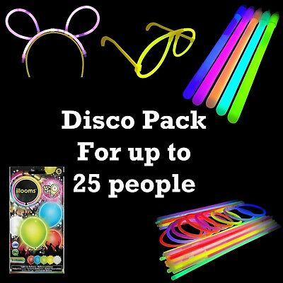 Disco Glow Pack - Glow Sticks, Bracelets, Glasses, Ears & Balloons Rave Party