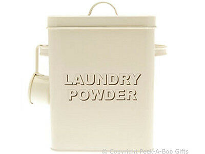 Home Sweet Home Cream Tin Laundry Powder Container with Scoop LP22215