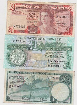 Three Well Used £1 Banknotes From Gibraltar, Guernsey & Scotland
