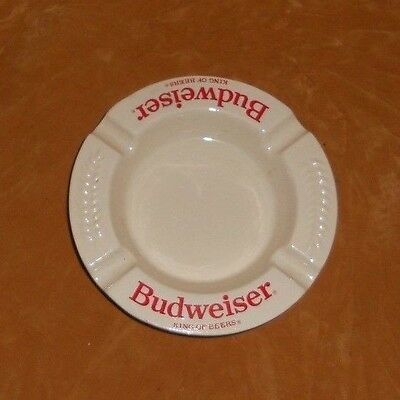 Budweiser King Of Beers Ashtray - Red & White Ceramic