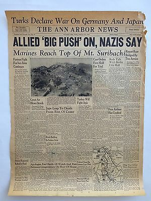"The Ann Arbor News Front Page February 23, 1945 Newspaper WW2 Ephemera 16"" x 23"""