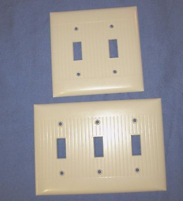 Double Triple Sierra Electric Ivory Plastic Bakelite Ribbed Switch Plate Covers