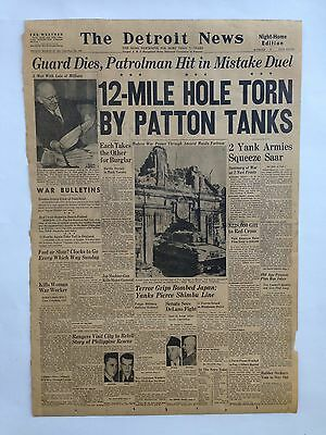 "The Detroit News Front Page March 16, 1945 Newspaper WW2 Ephemera 16"" x 23.5"""