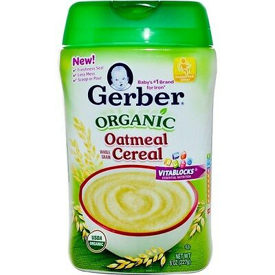 Organic Oatmeal Whole Grain Baby Cereal With VitaBlocks, 8 oz 227 g  - Gerber