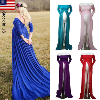 Chiffon Gown Maternity Maxi Wedding Party Dresses Photography 6 Color US STOCK
