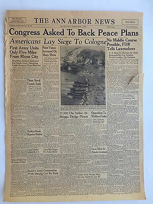 "The Ann Arbor News Front Page March 1, 1945 Newspaper WW2 Ephemera 16"" x 23"""