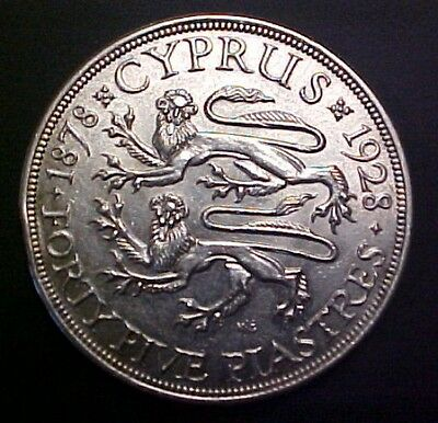 Cyprus 1928 50th Anniversary of British Rule 45 Piastres Silver Dragon Crown
