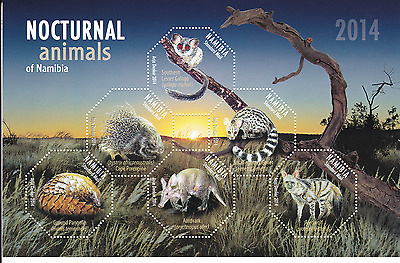 NAMIBIA - 2014 - Miniature Sheet: Nocturnal Animals of Namibia. Mint NH