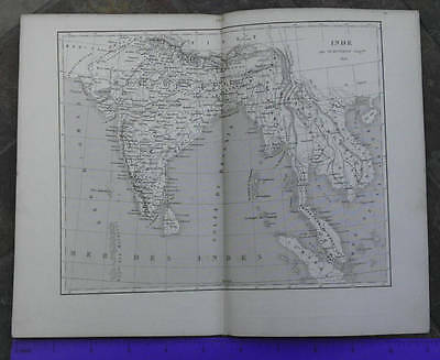 1863 INDIA ASIA Antique French Map