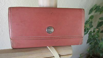 Vintage Coach Pink Distressed Leather Flap Cover Rectangular Wallet