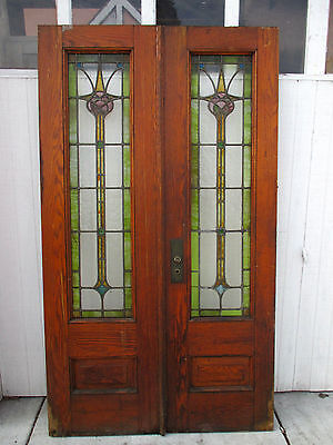 Antique Oak Double Entrance French Doors Stained Leaded Glass 48 X 84 Salvage