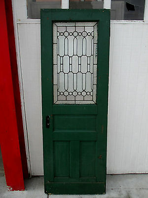 ~  Antique Stained And Beveled Glass Door 28 X 79 ~ Architectural Salvage ~