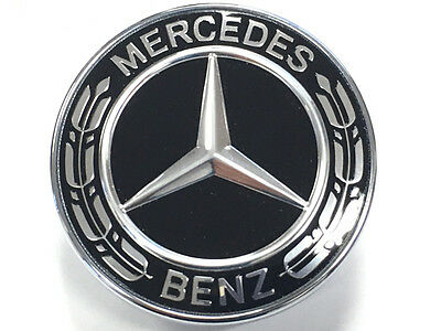 Mercedes Benz Hood Bonnet Badge Flat bonnet Badge Star Black Wreath