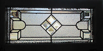 ~ Antique American Stained Glass Transom Window Bevels 28 X 14 Salvage ~