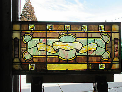 ANTIQUE AMERICAN STAINED GLASS TRANSOM WINDOW 38 x 17.5  ARCHITECTURAL SALVAGE