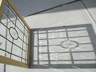 Antique Beveled And Etched Glass Window 31 X 34 ~ Architectural Salvage