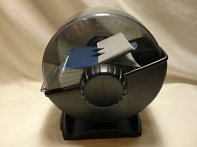 Rolodex Rotary Covered Business Card File Holder Black 360 Swivel Base A-Z Tabs
