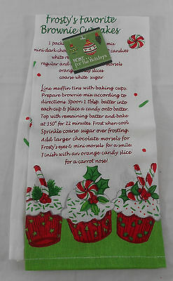 Susan Winget Kitchen Dish Towel Frosty's Favorite Brownie Cupcakes Recipe New