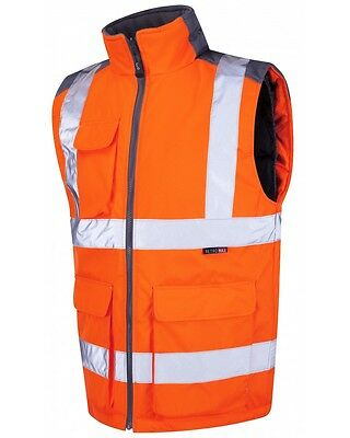Leo Workwear Torrington BW01 Hi Vis Rail Orange GO-RT Body Warmer SnickersDirect
