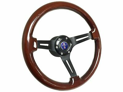 1984 - 2004 Ford Mustang Mahogany Wood Steering Wheel Kit | Blue Pony Emblem